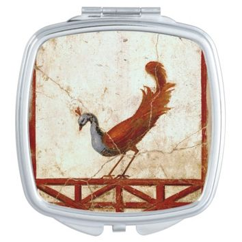 Peacock on Fresco Antique Painting Compact Mirror