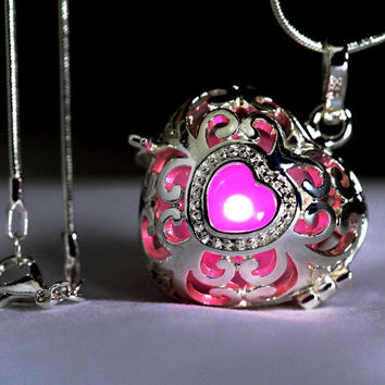 "Radiant Pink Glowing Heart  in 925 Sterling Silver SP With 18"" Sterling Silver SP Snakechain, Glow Pendant, Glow in the Dark, Glow Jewelry"