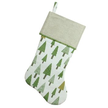 "18"" Rustic Woodland Christmas Stocking with Green Forest Print and Flax Cuff"