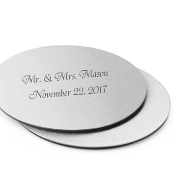 100Pcs=50Set Personalized Wedding Gift For Guests,Metal Cup Coaster Set