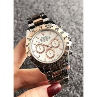 Rolex Classic Stylish Ladies Men Casual Business Sport Movement Couple Watch Silvery/Rose Golden