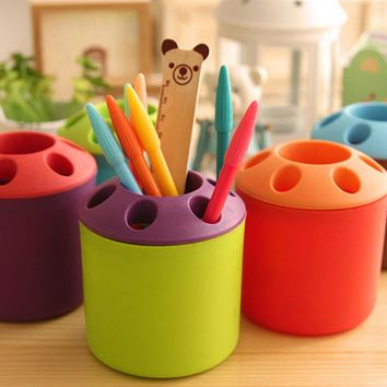 Plastic Pen Holder Grid Pen Container Student Stationery Desk Accessories Organizer Office&school Supplies Free Shipping 01202