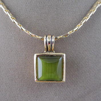 Green Satin Glass Cubed Pendant Chain Necklace