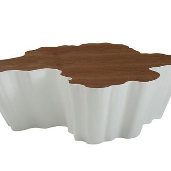 Modrest Cottonwood Modern Walnut & White Coffee Table