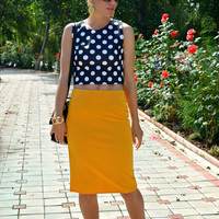 Ginger Split Back Pencil Midi Skirt