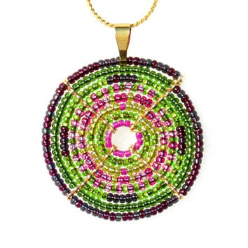 Statement Necklace, Pink and Green, Contemporary Jewelry, Large Pendant Necklace, African Necklace