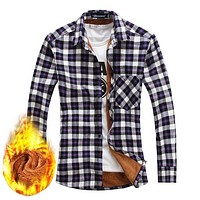 FLANNEL SHIRT Men's Thicken Fleece Lined Plaid Thermal Flannel Shirt Long Sleeve