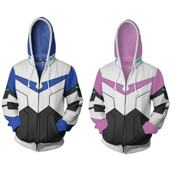 Japan Anime Sweatshirt Voltron Rance Cosplay Halloween Carnival Costume COAT Autumn 3D Printed Zipper Hooded Sweater Male Famale
