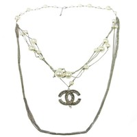 Chanel Gunmetal Silver Pearl Charm Pendant Layer Chain Evening Necklace in Box