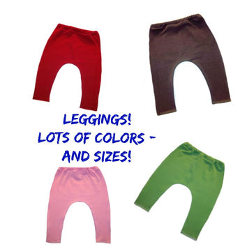 Solid Color Baby Girl Cotton Knit Leggings - 6 Sizes 15 Colors!