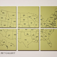 CLEARANCE The United States Map Screen Print by RightGrain on Etsy