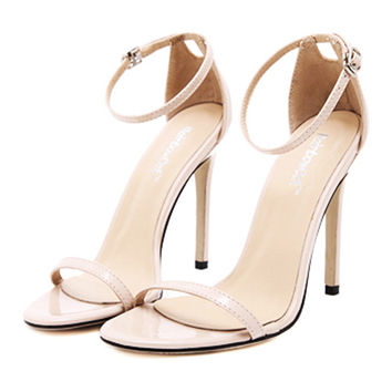 Lace-up Thin High Heel Shoes Sandals   apricot  35