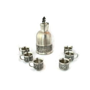 Vintage Norwegian Pewter Set, ITB TINN PEWTER, Pewter Decanter and Cups