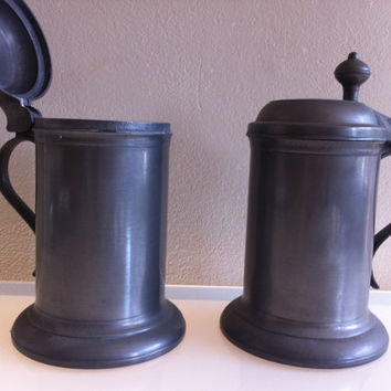 Pair of Vintage Pewter Tankards