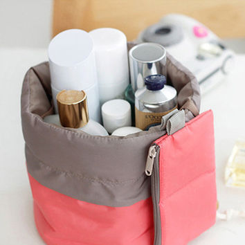 Portable Travel Dresser Pouch Travel Polyster Jumbo Size Toiletry Makeup Bag Cosmetics Case string