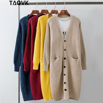 TAOVK Knitted long Cardigan Autumn V-Neck Long Sleeve Knit Sweater Coat Female single button design doubles pocket cardigan