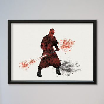 Star Wars Darth Maul Episode 1 The Phantom Menace Poster Watercolor Print Wall Decor Fine Art Giclee Print Wall Hanging StarWars Sith Lord