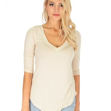 Lyss Loo Truly Madly Deep-V Neck 3/4 Sleeve Ivory Tunic Top