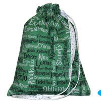 NEW Sock Knitting Bag | Sock Project Bag | Drawstring Bag | Harry Potter | Slytherin