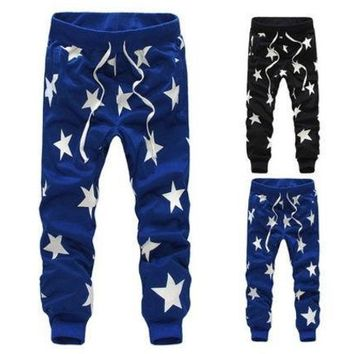 CREYUG3 Men/Boys Stars Printing Hip Hop Sweatpants Sports Dance Casual Sagging Pants New [9221652996]