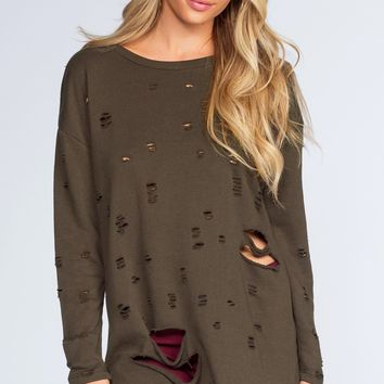 Caught In The Act Distressed Sweater - Olive
