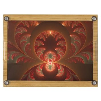 Luminous abstract modern orange red Fractal Cheese Board
