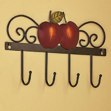 Country Kitchen Decor Wall Hooks Iron Apple Farmhouse Rustic Primitive NEW