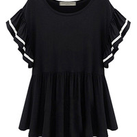 Black Flare Sleeve Peplum Blouse