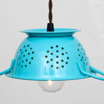 Mini Kitchen Colander Pendant Light - Lime Green Enamel // Vintage Style Cloth Covered Twisted Cord & Bakelite Plug