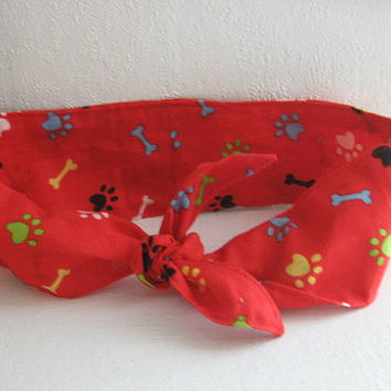 Hair Bandana - Rockabilly -Bones- Hair Scarf - RED - Dobbie Bandana - PinUp Bandana - BOHO Hairband - Fabric Headband -  Women Teens