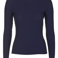 Long Sleeve Spongy Ribbed Top - Navy Blue