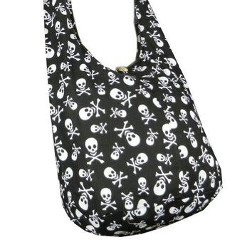 BTP Skull Punk Rock Hippie Hobo Thai Cotton Sling Crossbody Bag Messenger Purse