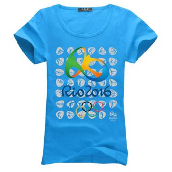 Commemorative Sports T-shirt Rio 2016 Olympic Games Round Neck Tee -XL Blue