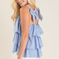 Tanya Blue Stripe Bow Ruffle Top