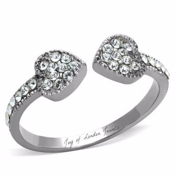 Two Heart Pave Russian Lab Diamond Wedding Band Promise Ring
