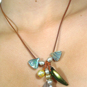 Tahitian pearls, australian-golden pearl -Red Jewel Beetle Wings - Pheasant Feather - african beads, tribal ethnic women necklace