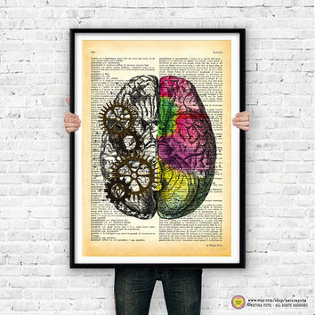 Left right brain dictionary wall art print-anatomical print-brain poster-brain print-anatomy poster-brain on book page-NATURA PICTA-NPS003