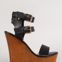 Women's Leatherette Buckle Ankle Strap Faux Wooden Platform Wedge