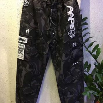 One-nice™ AAPE Fashion Embroidery Drawstring Pants Trousers Sweatpants