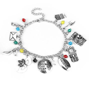 "Pretty Little Liars Bracelet letter""GOT A SECRET CAN YOU KEEP IT&Best friends"" Mask Crystal  Bracelet"