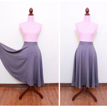 1940s Skirt / VINTAGE / 40s / Swing Skirt / Dove Grey / High Waist / Brushed Cotton