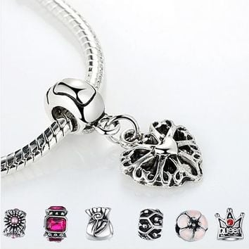 925 Sterling Silver Love Heart Charm Fit Pandora Bracelet and Necklace Pendant