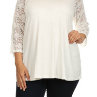 Crochet Sleeve Tunic Top (Plus Size)