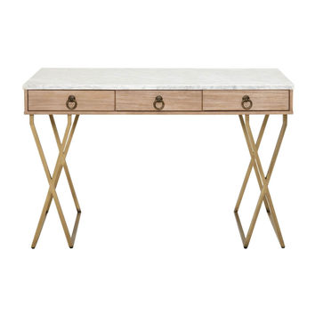 Carrera Desk White Marble / Brushed Gold