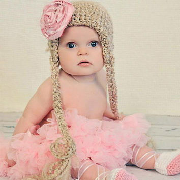 Crochet Girls Hat- Crochet, Hat, Beanie, Girl, Boy, Baby, Newborn, Flower, Flower clip, Clip
