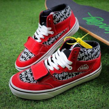 LMFNW6 Fear Of God FOG x Vans Vault Mountain Edition 35 DX Red Black White Shoes