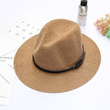 Women British Style Summer Knit Fedora Jazz Caps Wide Brim Panama Beach Visor Hat