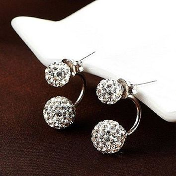 Silver Earrings Double Sided Spherical for Women