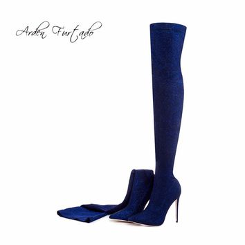 Arden Furtado 2017 winter woman blue boots over the knee thigh high boots bling bling sexy high heels sequined cloths slip on