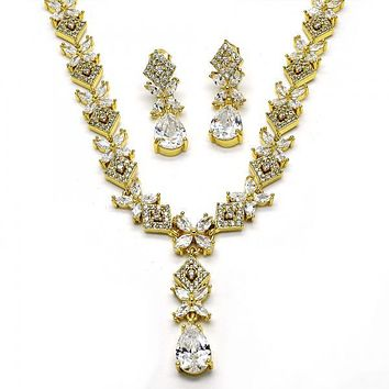 Gold Layered Necklace and Earring, Teardrop and Flower Design, with Cubic Zirconia, Golden Tone